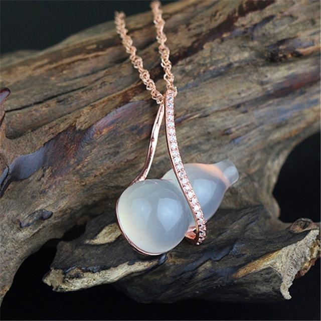 Special diseño de la calabaza amuletos de buda amuleto colgante y charms blanco jade piedra auténtica plata de ley 925 joyas de plata de buda amuleto