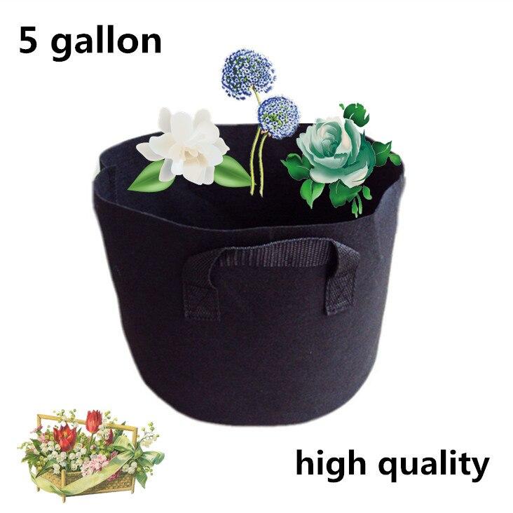 2 τεμάχια 5 γαλόνι μαύρο υφασμάτινο ποτίστρες φυτών φυτικών θύλακα κυλίνδρου αερισμού δοχείο τσάντα μεγαλώνουν