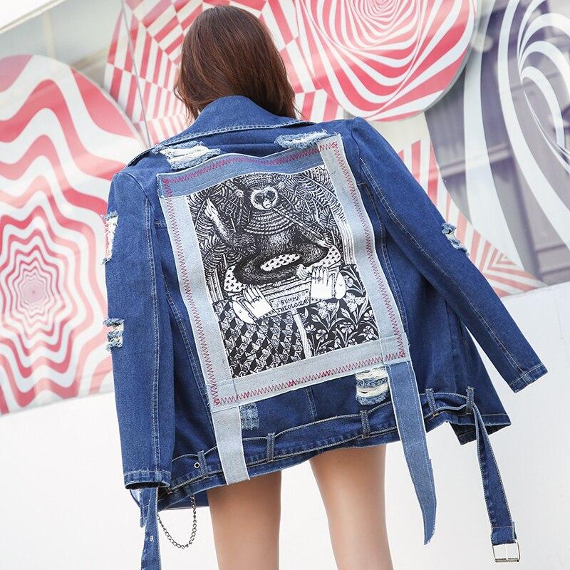 Bleu Hiver Vestes Denim Graffiti À Manches Éclair Fermeture Déchiré Occasionnel Bomber Veste Trou Longues Femmes Patch Designs Automne 5qATqxd