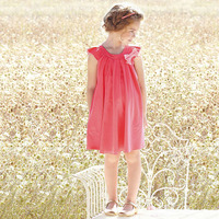 2015 Big Baby Girls Cotton Bow Dresses Kids Girl Summer Ruffle TuTu Ruffle Sleeve Dress Children