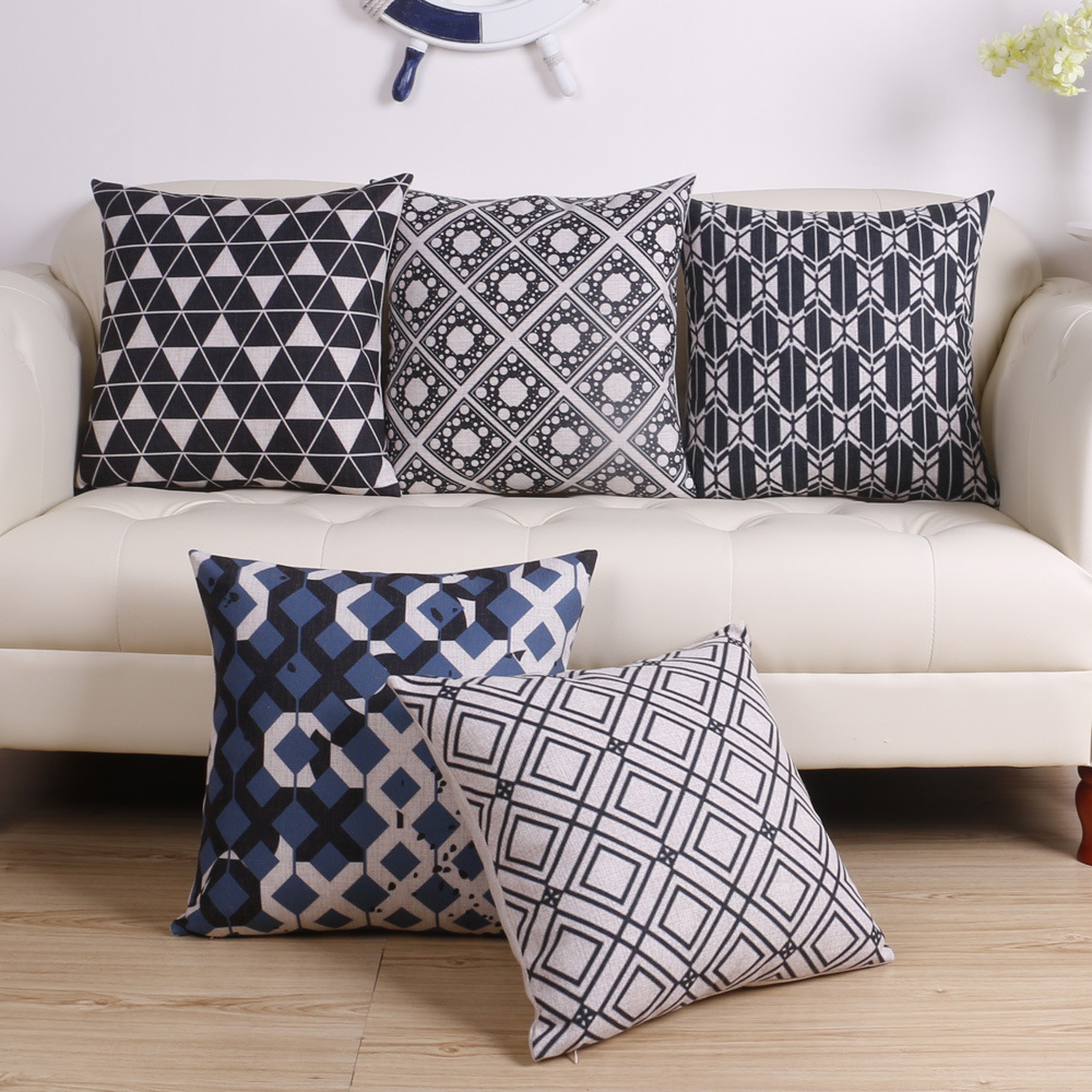 Free Delivery! Black And White Geometric Simple, Modern Scandinavian Decor Cushion Cover Home Decor