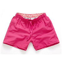 Rose red-Men Beach Sport Swim Trunks Surf Swimwear Quick Drying Briefs