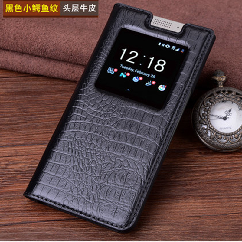 Real Leather Case For Blackberry KEYone Case Genuine Leather Crocodile Grain Flip Phone Cover Bag for