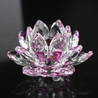 Free shipping Home Fengshui Wedding Decor Shinning K9 Crystal Lotus Flower Crafts
