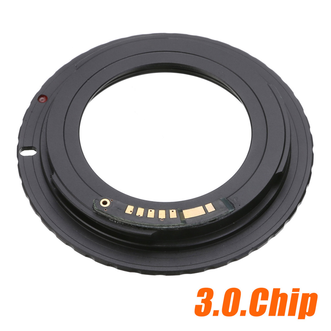 Nuevo adaptador de lente de alta calidad negro para lentes M42 Chips a Canon EOS montura EF anillo adaptador AF III Confirm