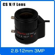 3 megapixel dc íris automática varifocal cctv lente 2.8 12mm cs montagem para 720 p 1080 p caixa câmera ip/ahd câmera frete grátis