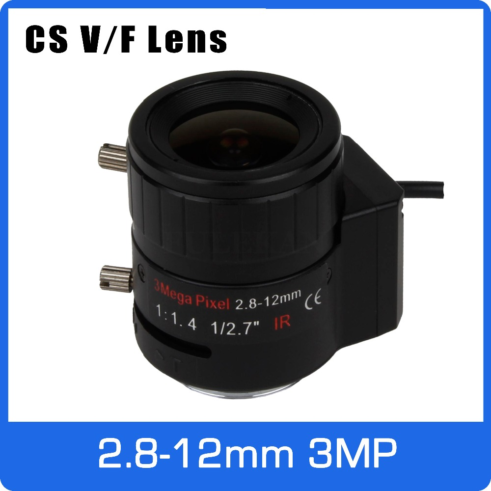 3Megapixel DC AUTO IRIS Varifocal CCTV Lens 2.8-12mm CS Mount For 720P 1080P Box Camera IP/AHD Camera Free Shipping 3megapixel varifocal cctv lens 5 50mm cs mount long distance dc iris for 720p 1080p box camera ip camera free shipping