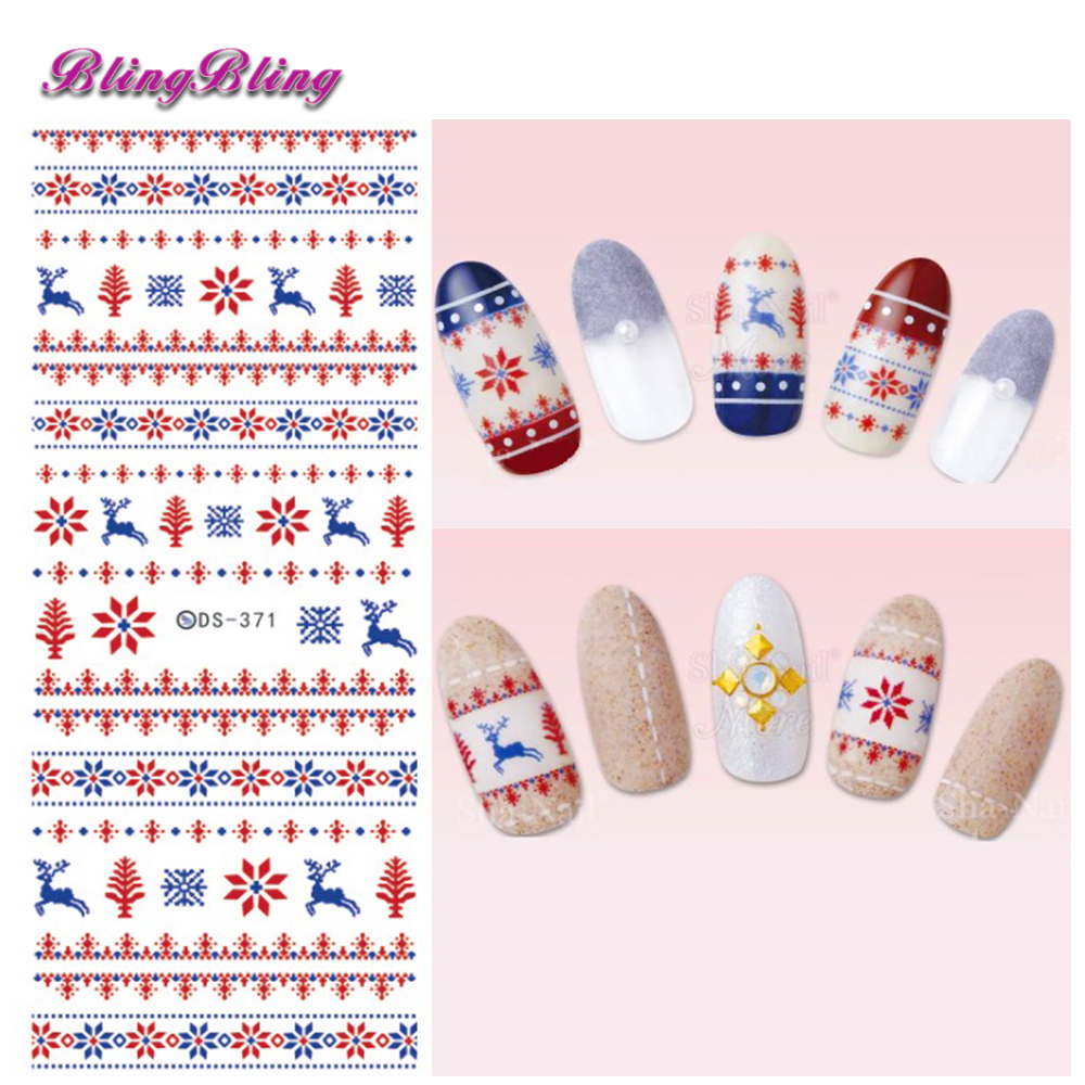 af3069d660 Blingbling 2pcs Christmas Nail Art Theme Water Decals Xmas Nail Sticker  Santa Snow Design Beauty Wraps Decoration New Year