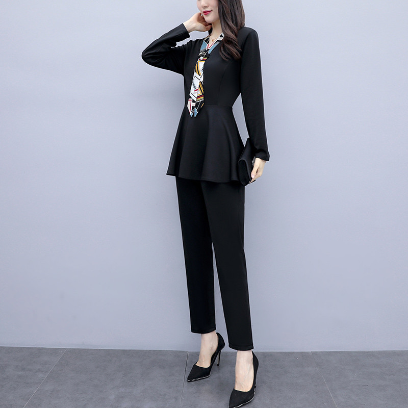 L-5xl Black Autumn Two Piece Sets Outfits Women Plus Size Long Sleeve Tunics Tops And Pants Suits Elegant Office Ol Style Sets 26