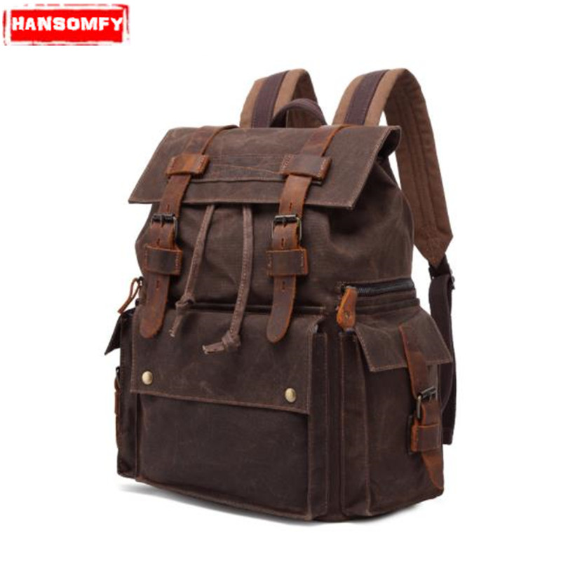 цена на Men shoulder bag oil wax canvas bag with crazy horse leather luggage backpack 15.6