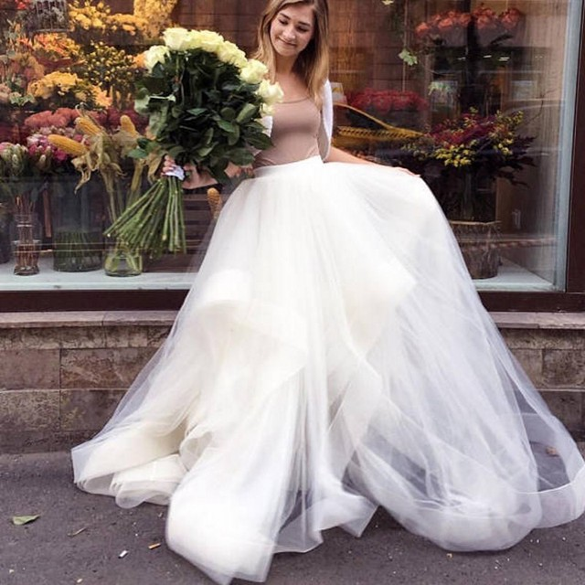 11ddb3b3cad4 Pretty Ruffles Long Bridal Tulle Skirts Puffy Floor Length Tutu Skirt For  Women To Photography A-line Custom Made Tulle Skirt