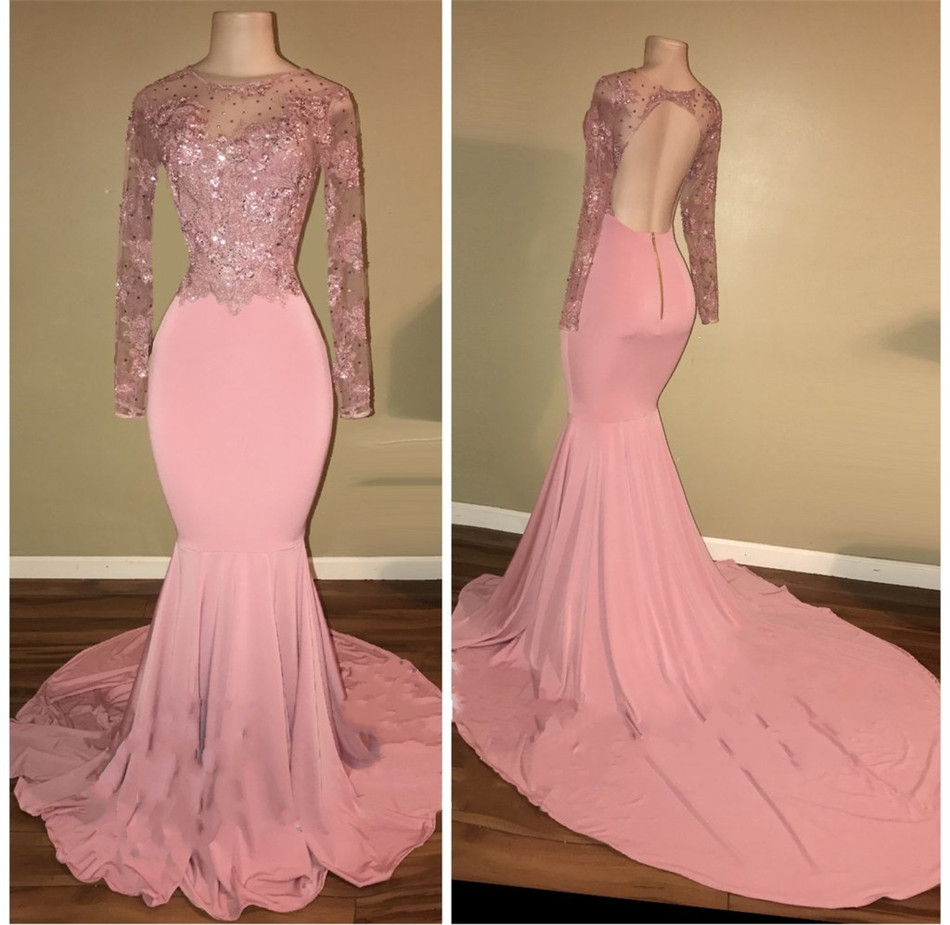 Blush Pink Mermaid Backless Long Sleeve Evening Dress 2018 Illusion Beaded Appliques Elastic Satin Formal Occasion Prom Gowns