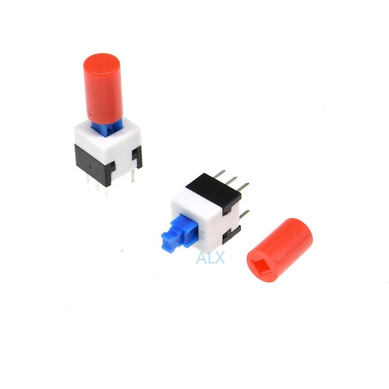 30PCS 8X8MM Self lock push button switch + red cap Micro TAcT Key Switch Self-locking power SWITCH ON/OFF 8*8 8X8 inching(China)