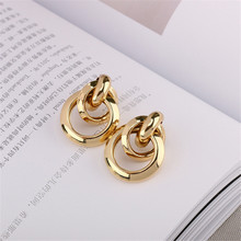 Exaggerated large gold earrings women retro metal geometric hipster Vintage wholesale Beautiful