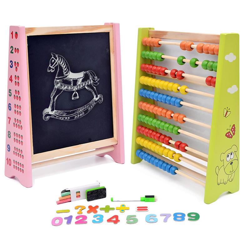 Children's Wooden 3-in-1 Tabletop Easel Magnetic Drawing Board Early Education Puzzle Calculating Writing Toy (Random Color)