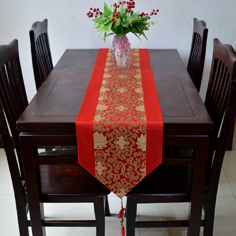 Chinese Style Red Table Runner Satin Luxury Wedding