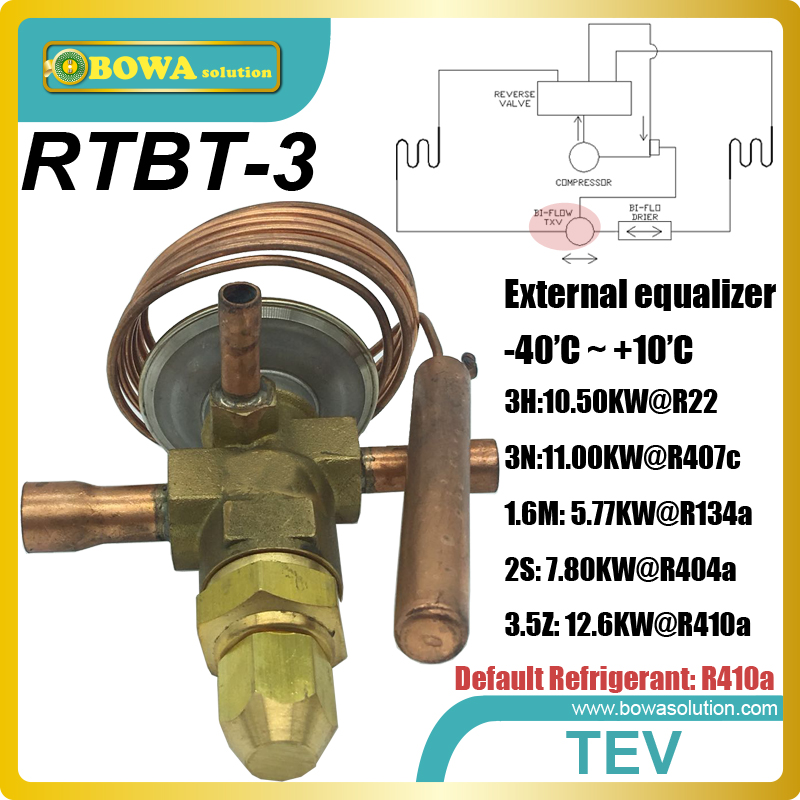RTBT-3 bi-flow thermostatic expansion valves with solder connection tube is installed in 3-in-1 heat pump air conditioners rtb 9 50 6kw r410a bi flow tev is installed in heat pump air conditioner reduce tev and check valve to reduce leakage risks