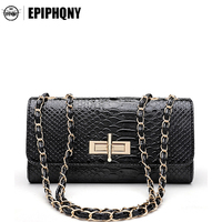 Epiphqny Brand Classic Crocodile Pattern Evening Bags Women Belt Chain Handbags Purses Envelope Day Clutch Bag