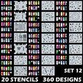 Arte corporal Aerógrafo Nail Art Plantillas Stencil Set 12 con 20 Hojas de Diseño Plantilla Stencil 360 Diseños