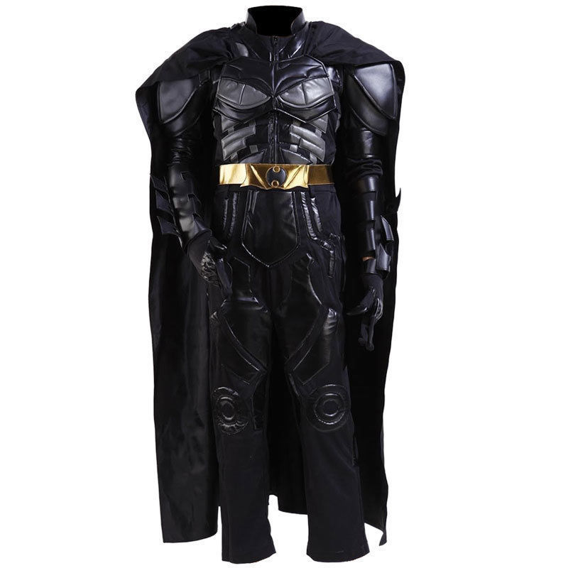 Batman Bruce Wayne Cosplay Battle Suit Black Costume with Mask