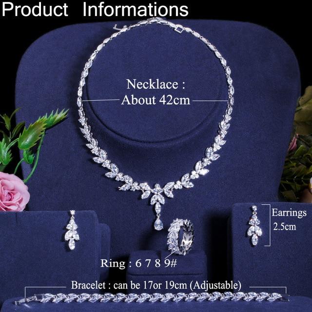 CWWZircons 4 Uds brillante cúbico pendientes y collar con circones anillo y pulsera joyería nupcial de la boda establece vestido accesorios T344 6
