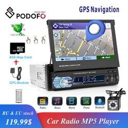 Podofo 1din Autoradio GPS Navigatie 7 HD Intrekbare Screen MP5 Speler Bluetooth Stereo Spiegel Link Autoradio Rear View camera