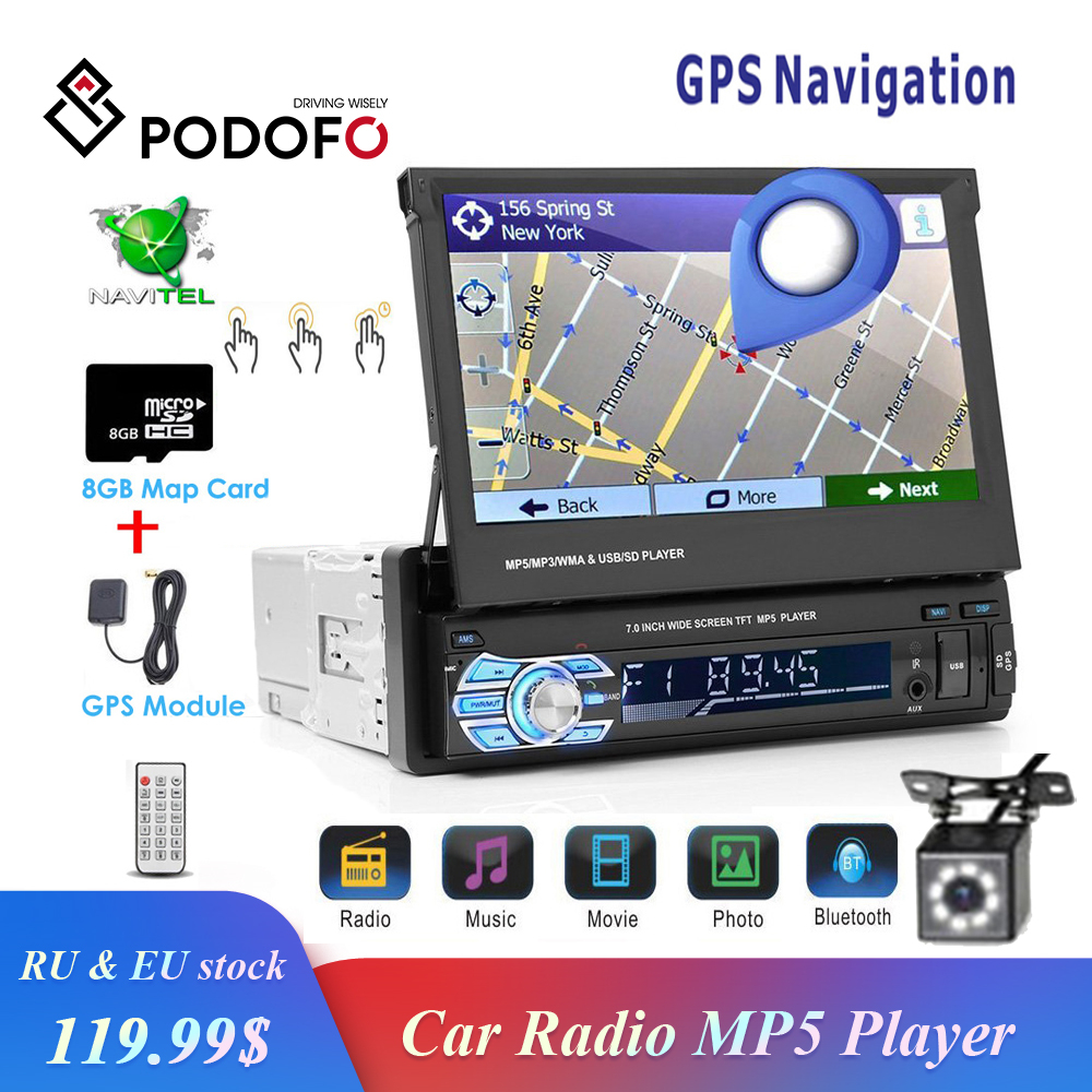 Podofo 1din Car Radio GPS Navigation 7 HD Retractable Screen MP5 Player Bluetooth Stereo Mirror Link Autoradio Rear View Camera