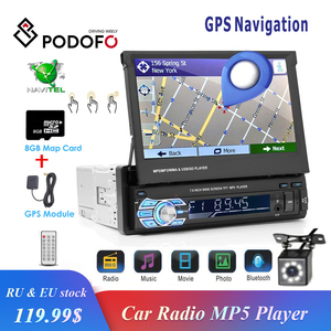 "Podofo 1din Car Radio GPS Navigation 7"" HD Retractable Screen MP5 Player Bluetooth Stereo Mirror Link Autoradio Rear View Camera(China)"