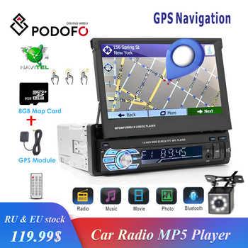 "Podofo 1din coche Radio navegación GPS 7 ""HD pantalla retráctil MP5 Player Bluetooth Stereo Mirror Link autorradio cámara de visión trasera"