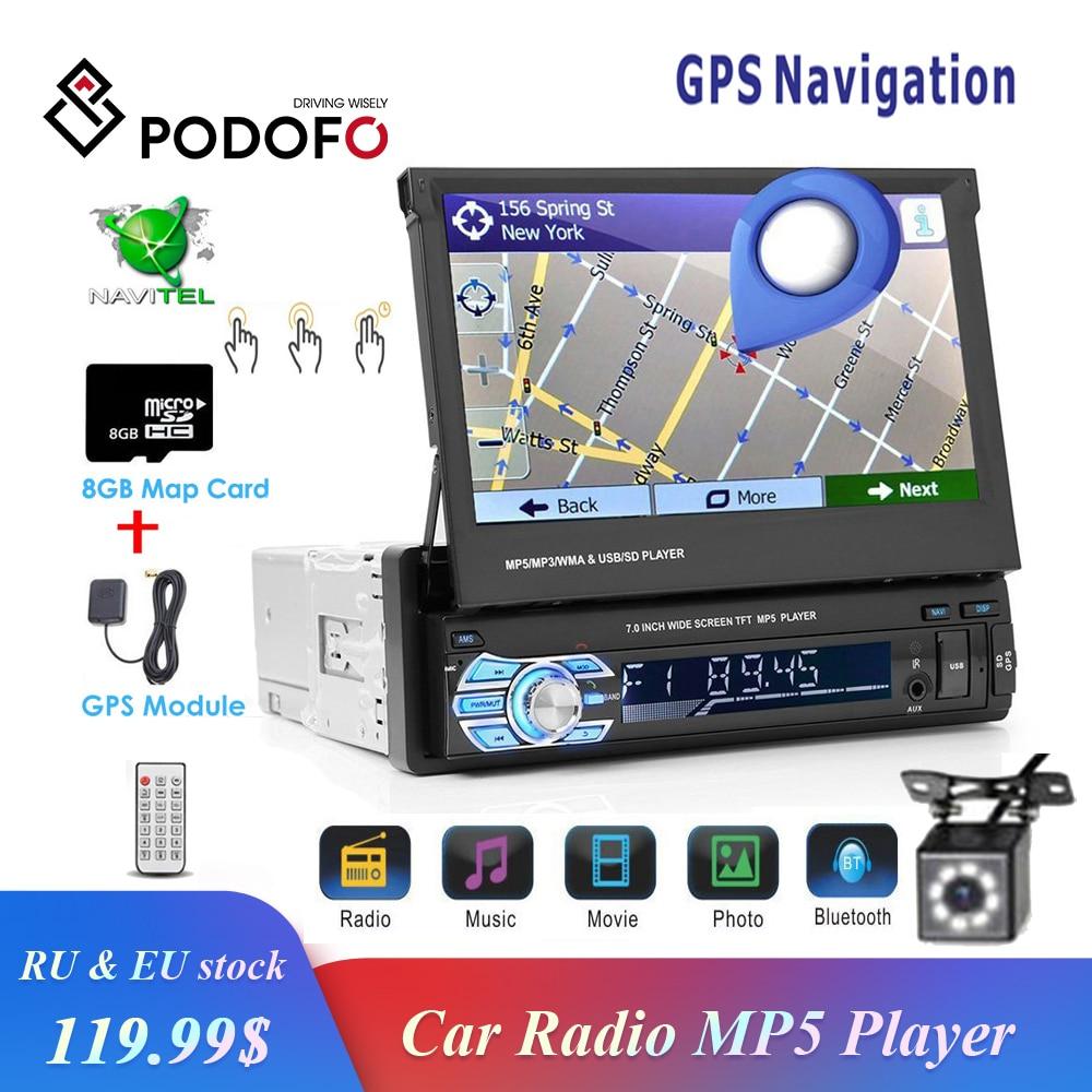 Podofo 1din rádio do carro gps navegação 7 hd tela retrátil mp5 player bluetooth estéreo espelho ligação autoradio câmera de visão traseira