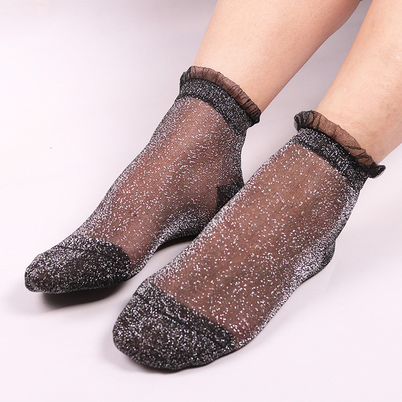 5Colors Women Lace Socks Summer Fashion Shiny Crystal Glass Silk Thin Ankles Short Sock Transparent Glitter Elastic Sox meias