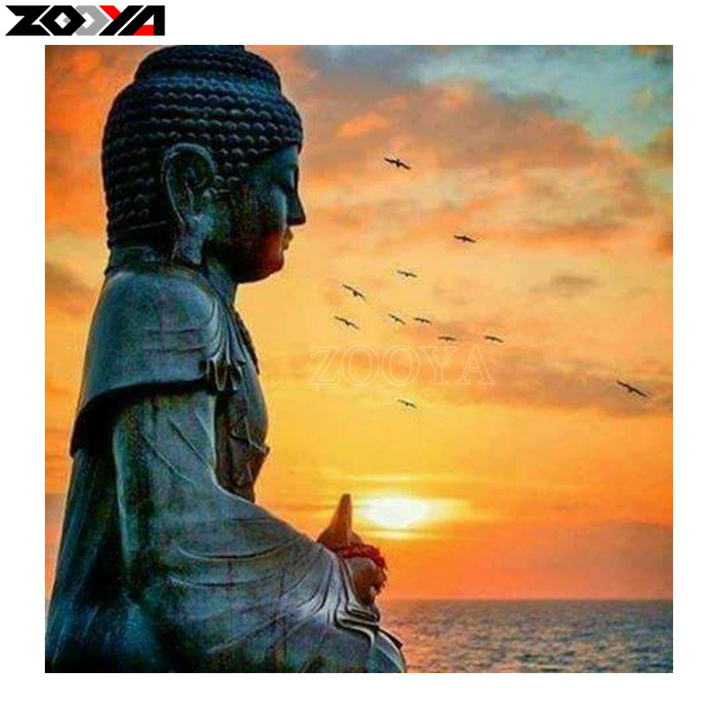 ZOOYA Full square/Round drill Diamond embroidery Buddha sunset 5D DIY diamond Painting Cross Stitch Rhinestone Mosaic gift C04