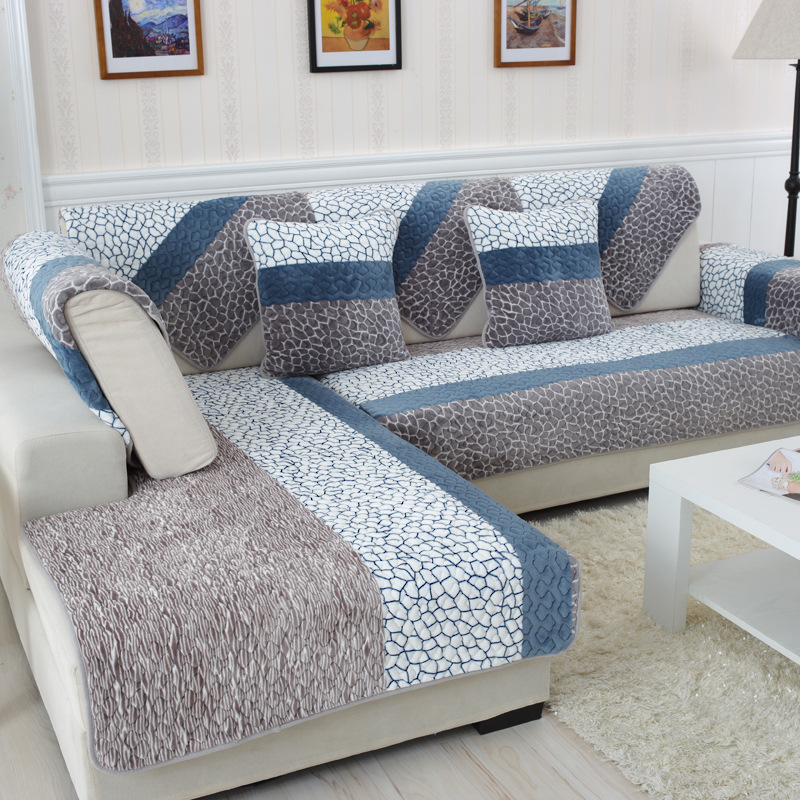 1 Piece Plush Fabric Sofa Cover European Style Soft Slip