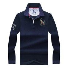 Высококачественная Однотонная рубашка-поло с 3D вышивкой, повседневные рубашки поло, мужская рубашка-поло с длинным рукавом, Новое поступле...