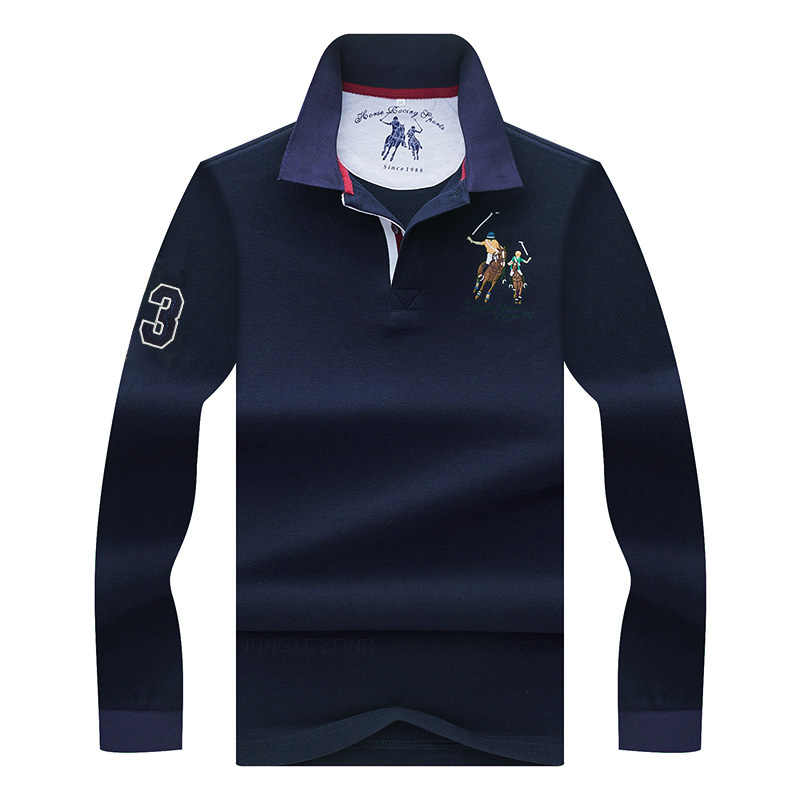 High Quality Solid color 3D Embroidery Polo Shirt Casual Polo Shirts men's Long sleeve polo shirt 2018 New Arrival polosshirt