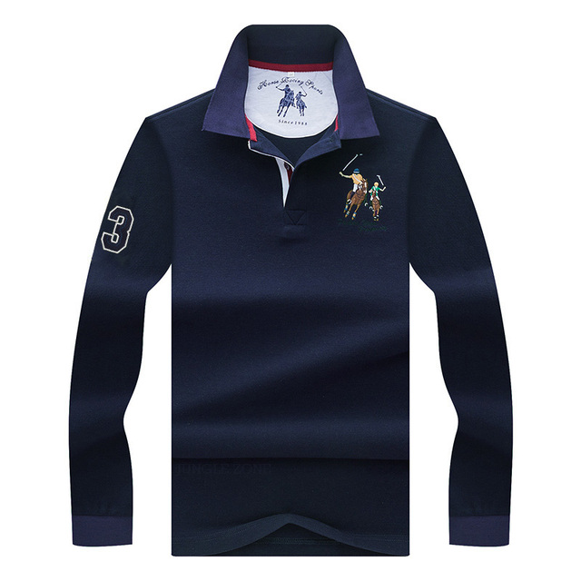 a91f8563 High Quality Solid color 3D Embroidery Polo Shirt Casual Polo Shirts men's  Long sleeve polo shirt 2018 New Arrival polosshirt