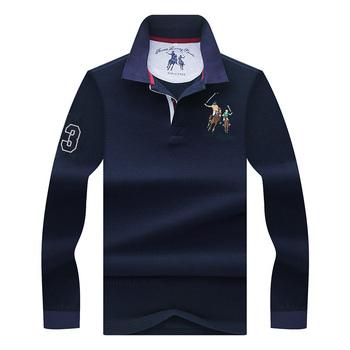 Wysokiej jakości jednolity kolor 3D haft koszulka Polo Casual koszulki Polo męska koszulka polo z długim rękawem 2018 New Arrival polosshirt tanie i dobre opinie JUNGLE ZONE Pełna Na co dzień REGULAR Odznaka Przycisk Stałe COTTON Anty-pilling