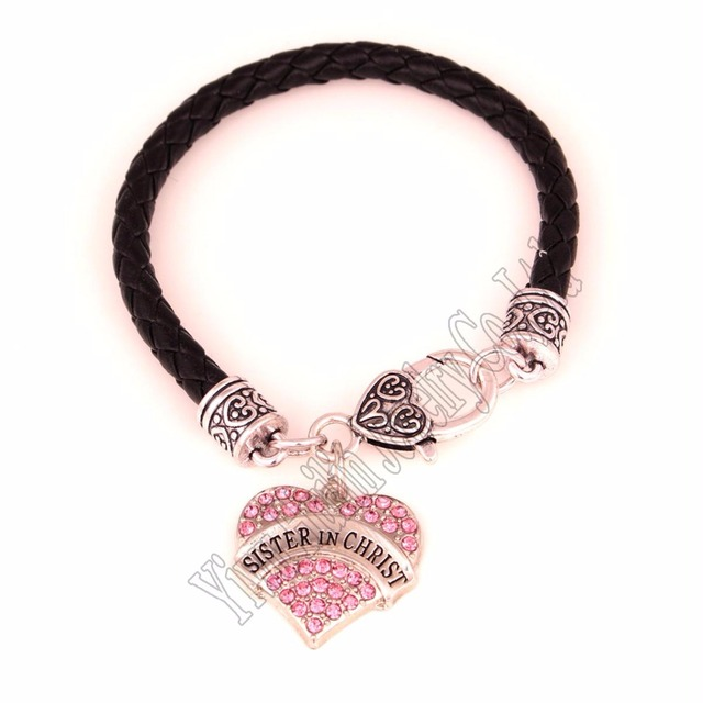 20cm Length Studded With Crystals Sister In Christ Heart Pendant Bracelet Lobster Claw Clasps