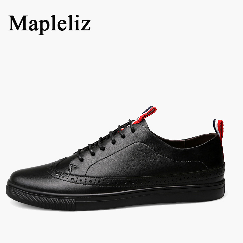 цена Mapleliz Brand Men Casual Shoes Genuine Leather High Quality Lace-Up Breathable Basic Solid Shoes For Men Wear In Summer онлайн в 2017 году