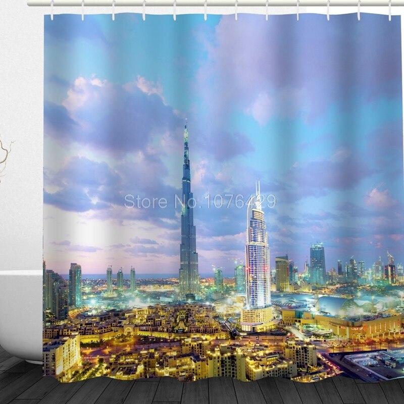 Custom Shower Curtain Dubai Burj Khalifa Tower Design