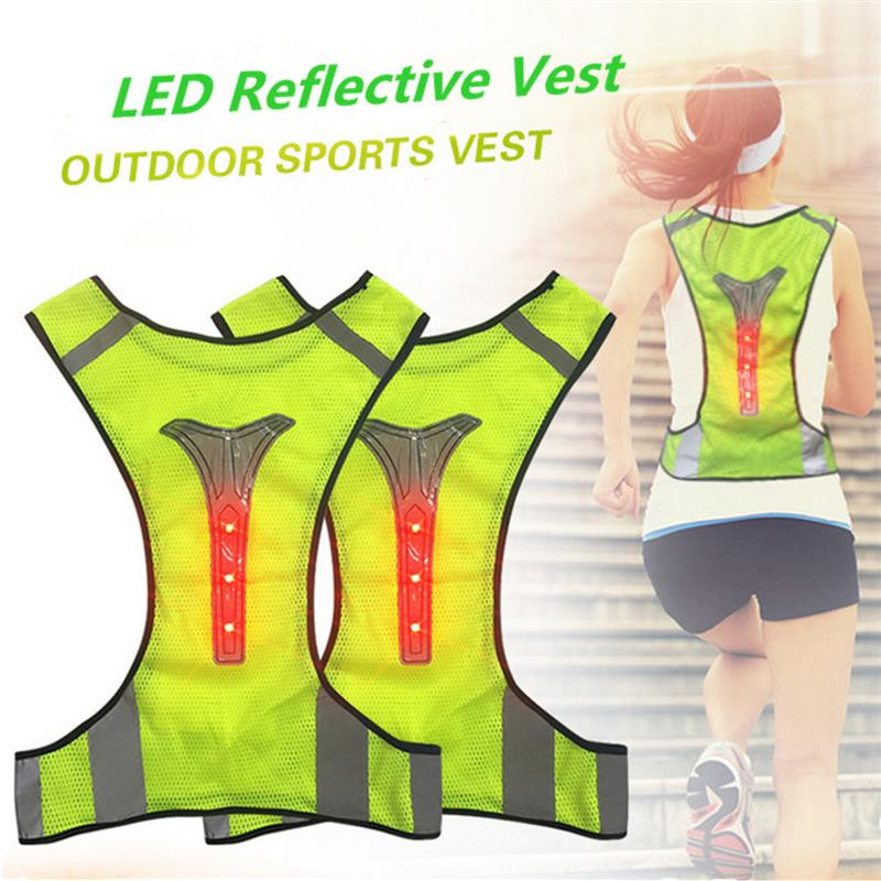 LED Reflective Safety Vest for Night Running Cycling Breathable High Visibility