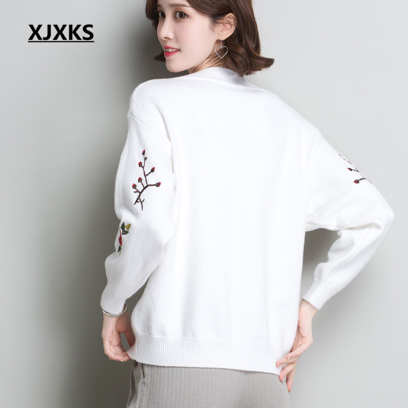 Tops light New Tan end Fashion 2018 Winter Embroidery Sweater gray And High neck Xjxks white Autumn Black Women Cashmere V Pullover Comfortable Hq7xanAw