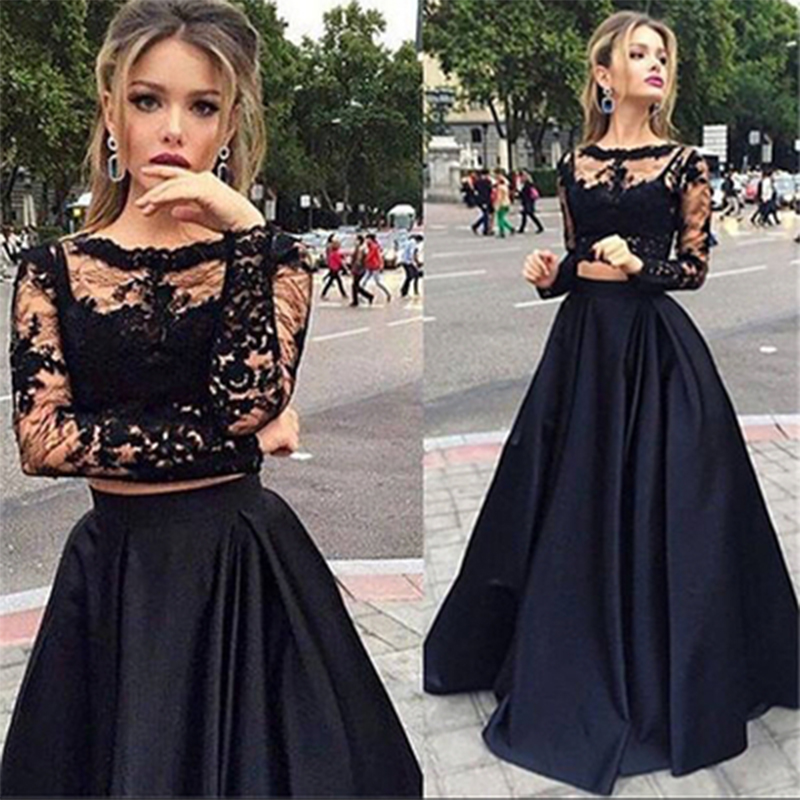 New Simple Black 2 Pieces Prom Dresses 2019 Long Sleeve Lace Sheer Formal Party Gowns Vestido Longo Abiye Robe De Soiree