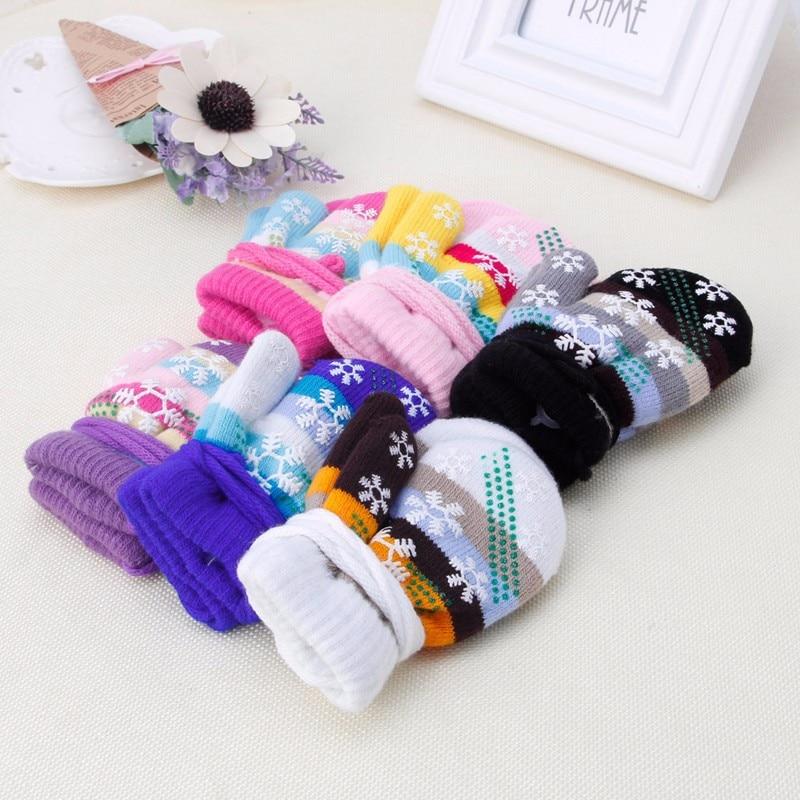 Baby Kids Children Snow Stripe Gloves Soft Knit Winter Warm Mitten Christmas