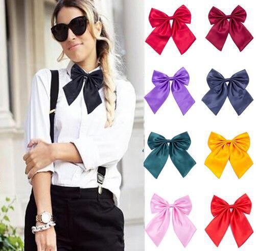 1 Pcs Women Cravat Red Black Butterfly Women's Bow Tie Female Girl Student Hotel Clerk Waitress Neck Wear Silk Ties QLYC0010
