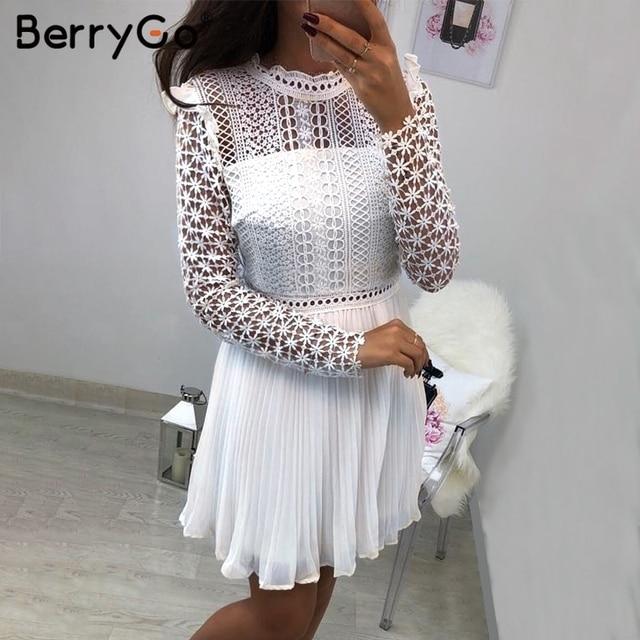 BerryGo Sexy lace floral women dresses short dress Hollow out long sleeve mesh splice chiffon dresses Elegant party female dress