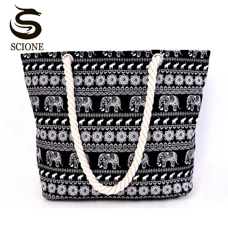 Scione Women Canvas Beach Bag Fashion Color Stripes Printing Handbags Ladies Large Shoulder Bag Totes Casual Bolsa Shopping Bags free shipping casual canvas shopping bags black color with fish pattern shoulder bags shopping bag handbags e08