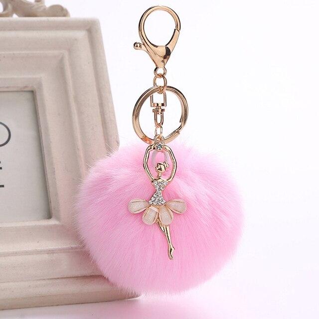 Anjo Ballet Dancing Girl Fluffy Chaveiros para As Mulheres Imitação de Pele De Coelho Bola Pompom Saco da corrente chave Chave Anéis de Ouro Fourrure encantos