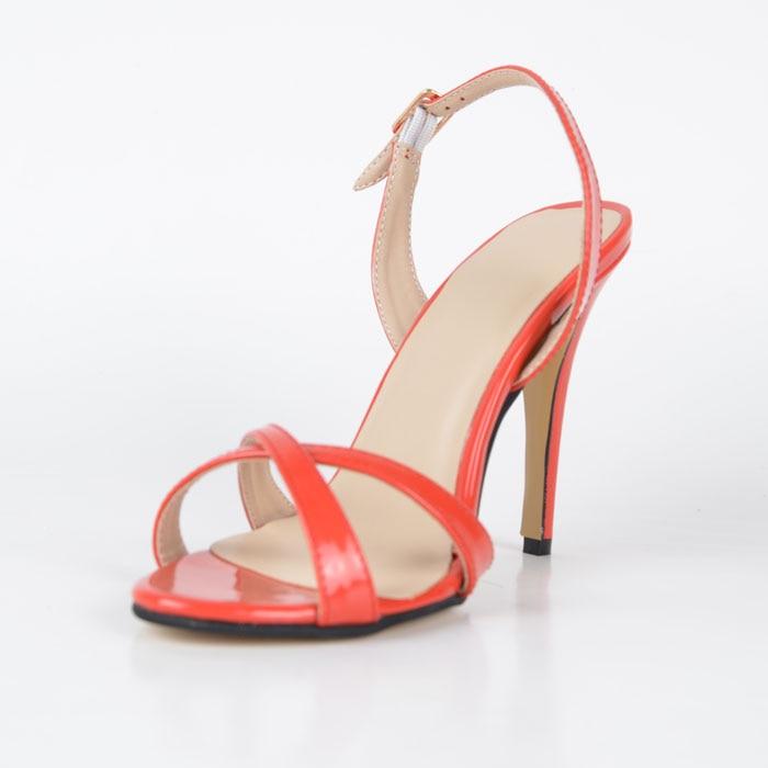 ФОТО Orange Soft Leather Cross Tie Women Sandal Thin Straps Sandals UK High Heel Designer Shoes Ladies Summer Sandals For Women