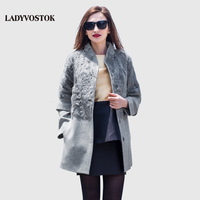 LADYVOSTOK Autumn Winter Long Woman Coat Wool Cashmere Coat Removable Sleeves Snap Fastener Leisure Collar Real
